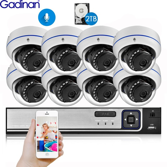 Gadinan 8CH 4MP CCTV Security NVR Kit System 4MP 3MP POE Audio Record Dome Outdoor POE IP Camera P2P Video Surveillance Set