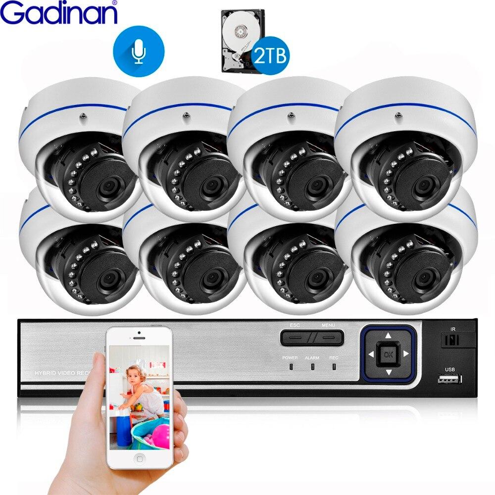 Gadinan 8ch 4mp cctv segurança nvr kit sistema 4mp 3mp poe gravação de áudio cúpula ao ar livre câmera ip p2p vídeo vigilância conjunto