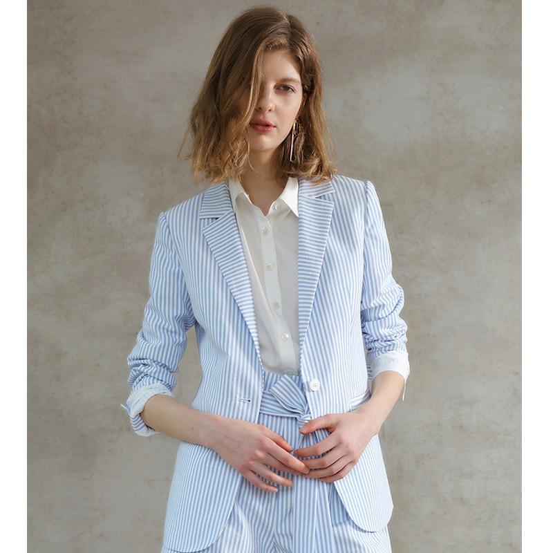 C + IMPRESS Для женщин пиджак женский голубой в полоску Топы Бизнес летняя хлопковая с длинными рукавами служба барышня пальто верхняя одежда