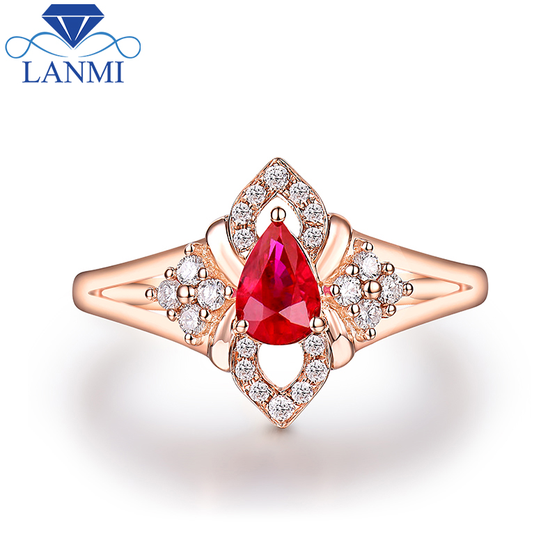 9d93e1bee79 Pretty Red Ruby Diamond Ring Real 14K Rose Gold Wedding Anniversary Fine  Jewelry Wholesale for Women