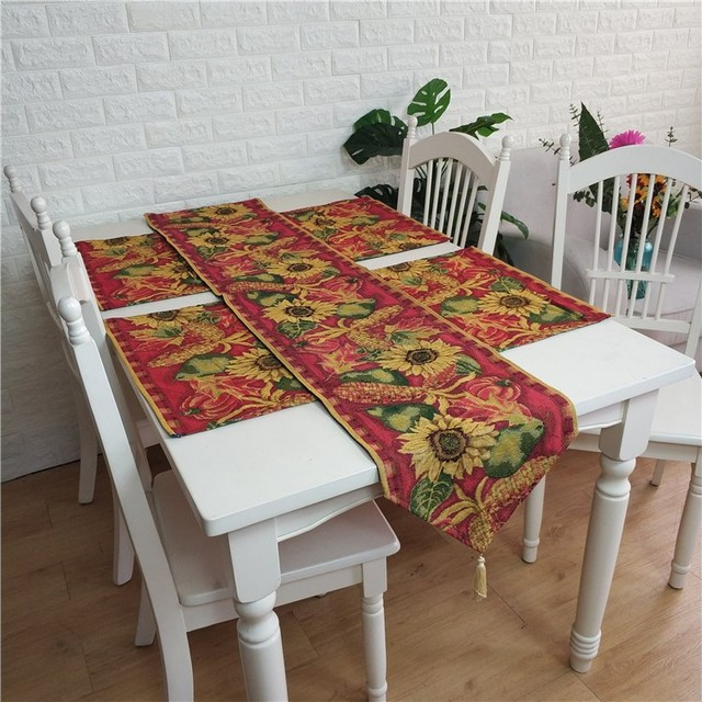 Coffee Table Runner.Us 14 9 Christmas Dec Love Sunflower Coffee Table Runner Dinner Mat Place Mat Jacquard Home Ornament Wholesale Fg1039 In Table Runners From Home