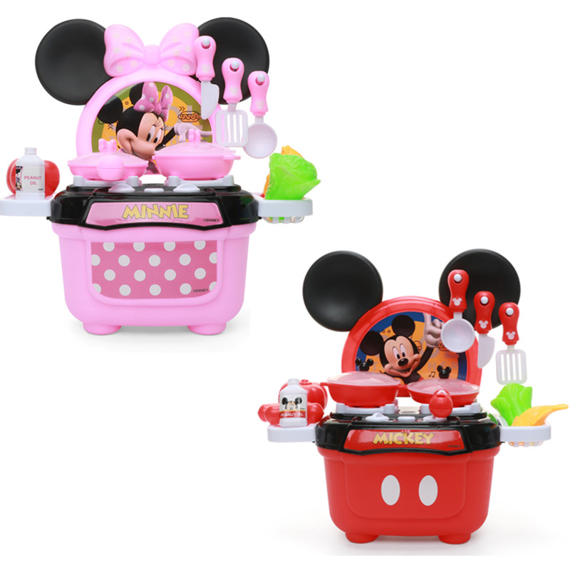 2019 Disney Kitchen Toys Mickey Minnie Model Cooktop Educational Diy Kitchenware Birthday Gifts Pretend Play Girls Toys For Kids