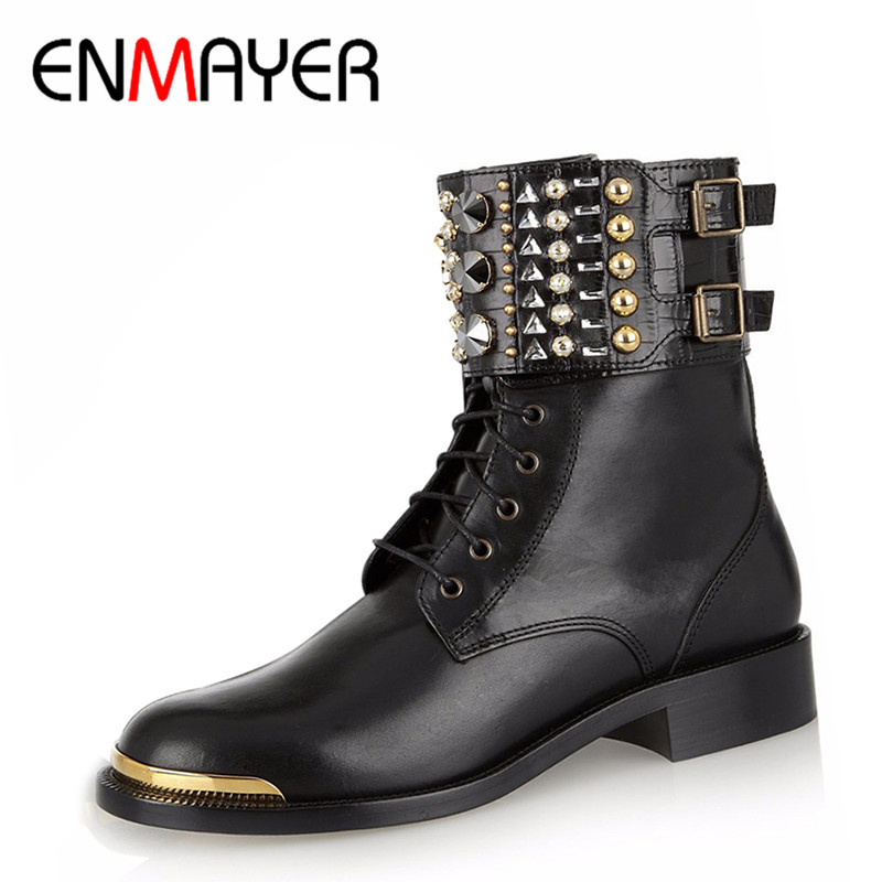 ФОТО ENMAYER Fashion Summer Boots Knee High Boots Women Brown Color Sexy Lace-up Peep Toe Boots Genuine Leather Shoes for Women Pumps