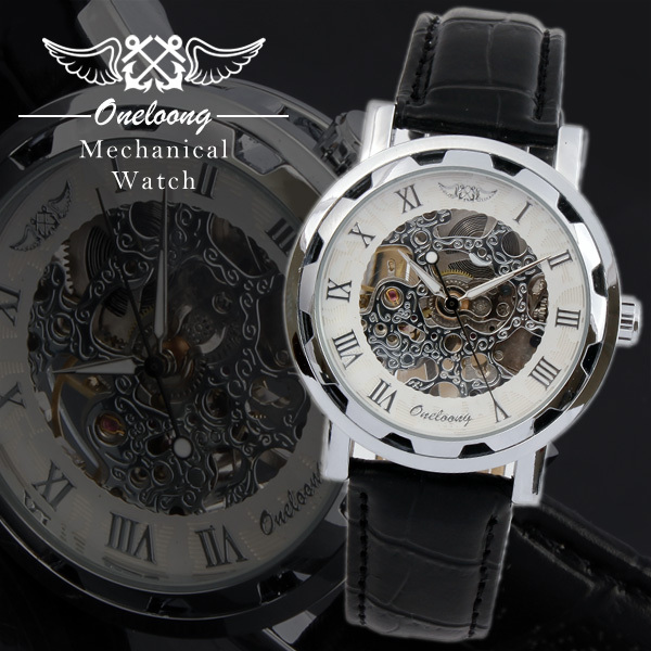 winner skeleton manual wind watch oneloong luxury brand leather rh aliexpress com Men's Manual Wind Watches Timex Manual Wind Watches