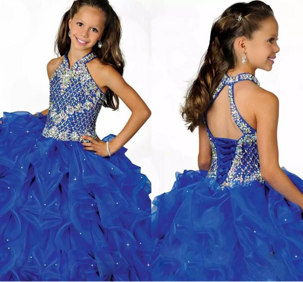 Glamorous Royal Blue Halter High Neckline Girls Pageant Dress Beaded Straps Crystals Pleated Organza Girls Birthday Party Dress