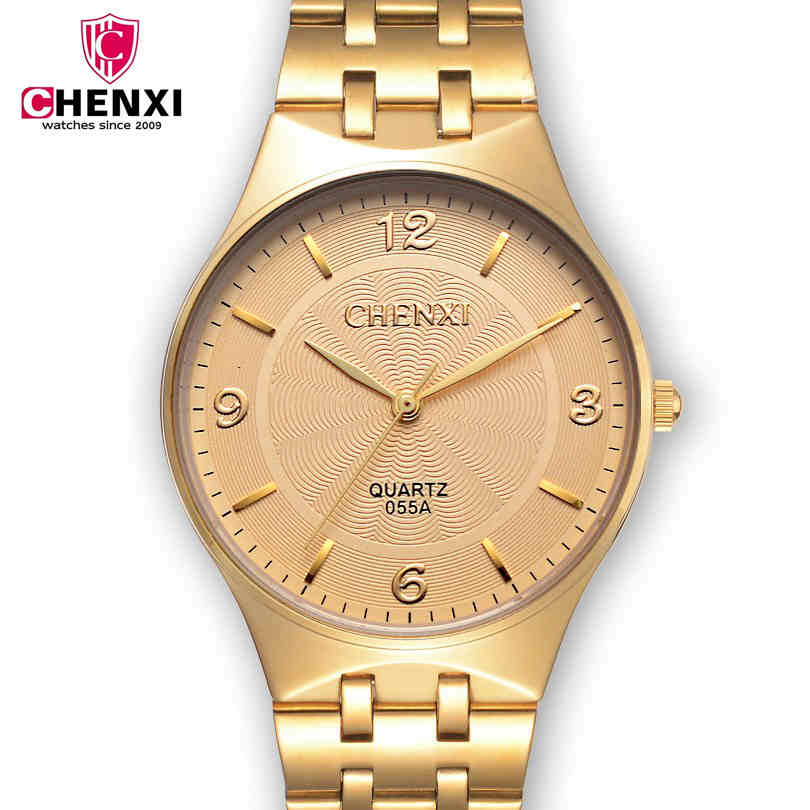 CHENXI Top Brand Man Watches Steel Bracelet Gold Watch Men Hot Sale Quartz Clock Male Gift Wristwatches For Lover Couple NATATE