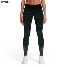 KYKU Brand Galaxy Leggings Women Space Trousers Black Ladies Tree Elastic Gothic 3d Print Womens Pants Jeggings