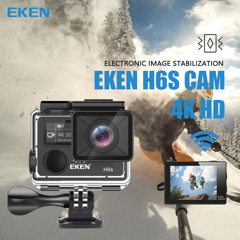 Original EKEN H6S Ultra HD 4k 30fps Action Camera with Ambarella A12 chip inside 30m waterproof EIS go sport camera pro cam dvrOriginal EKEN H6S Ultra HD 4k 30fps Action Camera with Ambarella A12 chip inside 30m waterproof EIS go sport camera pro cam dvr
