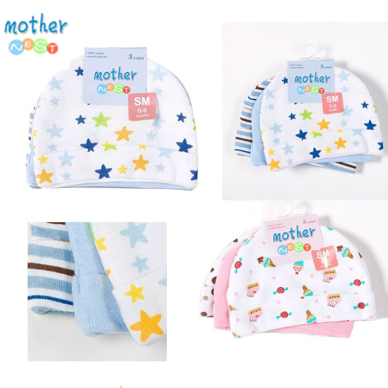 Mother Nest 3pcslot Baby Hats PinkBlue Star Printed Baby Hats & Caps for Newborn Baby Accessories (4)