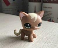 Pet Shop Hakiki Orijinal Ayakta Kedi #1024 Kısa Saç Kahverengi kedi Kıvırmak Mocha Tan LPS Sevimli Hayvan Modelleri Çocuklar Hediyeler oyuncaklar