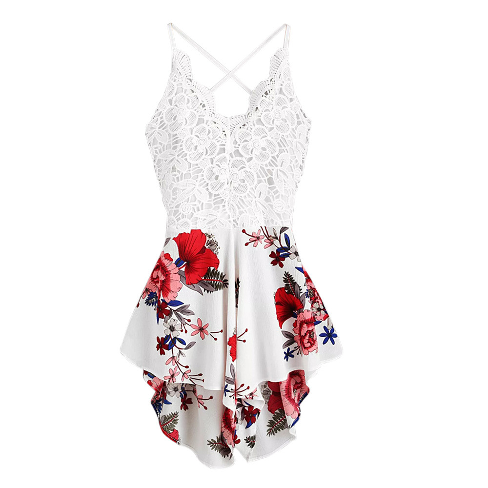 Feitong Women's Playsuit Summer Ladies Sexy Crochet Lace Panel Bow Tie Back Florals Shorts   Jumpsuit   Macacao Feminino Overalls