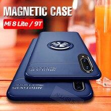 ALLORUS Case for Xiaomi Mi 8 Lite Mi 9 9T Pro Magnetic Silicone Ring Case for Xiaomi Mi 8 Phone Case Shockproof Kickstand Cover super shockproof phone case for xiaomi mi 9t mi 8 lite a2 lite mi 9 airbag silicone tpu case for xiaomi mi 9t mi 8 lite cover