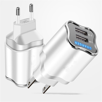 For iPhone Samsung 2 port EU/US Plug Wall Charger Dual Port USB 2.1A Fast Mobile Phone Charge Adapter LED Light for honor 8