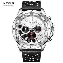 MEGIR Mens Leather Strap Army Sports Watches Waterproof Chronograph Quartz Wristwatch Man Relogios Masculino Clock 2103 White