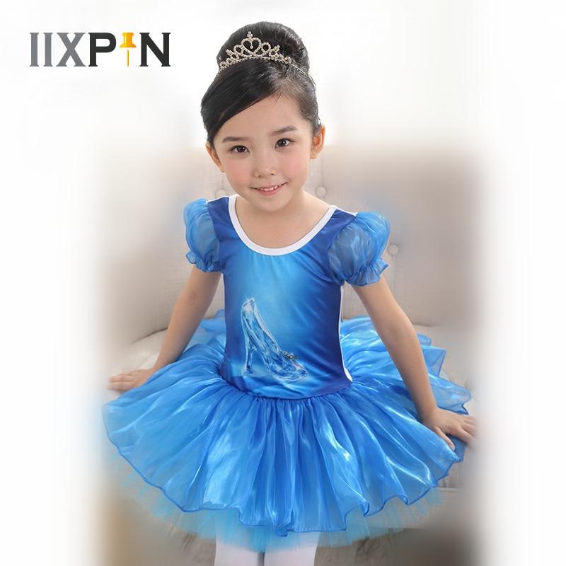 IIXPIN Ballet Costumes Dance Wear Ballet Tutu Dress For Girls Blue Crystal Shoes Print Ballet Dress Kids Ballerina Leotard Dress