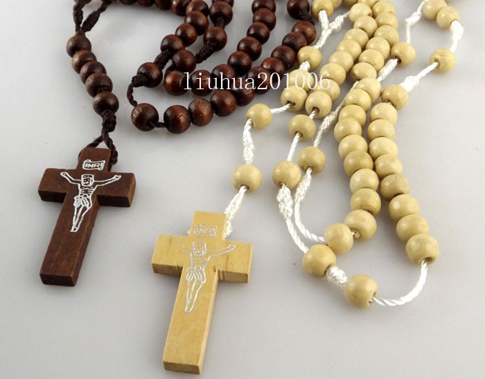Wholesale 12 pcs mix color wooden rosary beads jesus cross pendant wholesale 12 pcs mix color wooden rosary beads jesus cross pendant necklaces wood religious cross jewelry in pendants from jewelry accessories on aloadofball Images