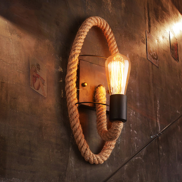 Retro loft rope wall lamp stair aisle corridor bedroom living room restaurant pub cafe wall light bra round wall sconce
