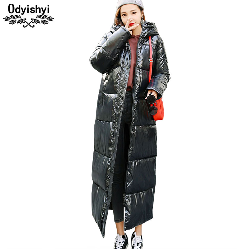 Women Winter Long Jacket 2019 Stylish Metal Glossy Winter Thicken Warm Coat Female Jackets Hooded Parka