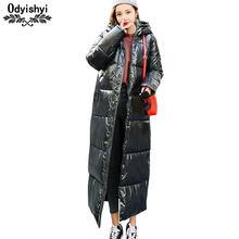 f58500b1f55 Женская зимняя длинная куртка 2019 стильное металлическое глянцевое зимнее  утепленное пальто женские куртки с капюшоном парка