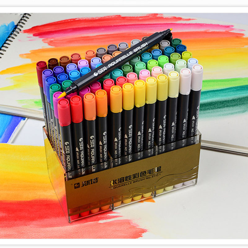 Double Tip Ink 80 Color Art and Graphics Drawing Comic Water Pigment and Work Tips Sketch Pen Watercolor Brush