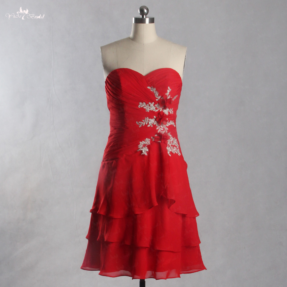 LZF068 Red Chiffon 3D Flowers Appliques Formal Dress Party Sexy Cocktail Dresses Homecoming Dresses