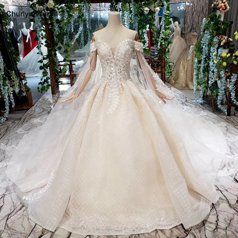 HTL411 Princess Wedding Dresses With Cape Off The Shoulder Sweetheart Bridal Dress Up Wedding Gowns New Fashion Robe De Mariee