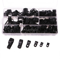 200PCS Black Nylon PType Cable Clamp Fastener Plastic Wire Clips Cable Cord Clip R07 Drop Ship
