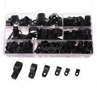 200PCS Black Nylon PType Cable Clamp Fastener Plastic Wire Clips Cable Cord Clip R07 Drop Ship