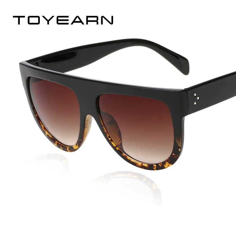 6746fb7584 ... TOYEARN Fashion Brand Designer Vintage Flat Top Sunglasses Women Rivet Shades  Sun Glasses For Female Gafas ...