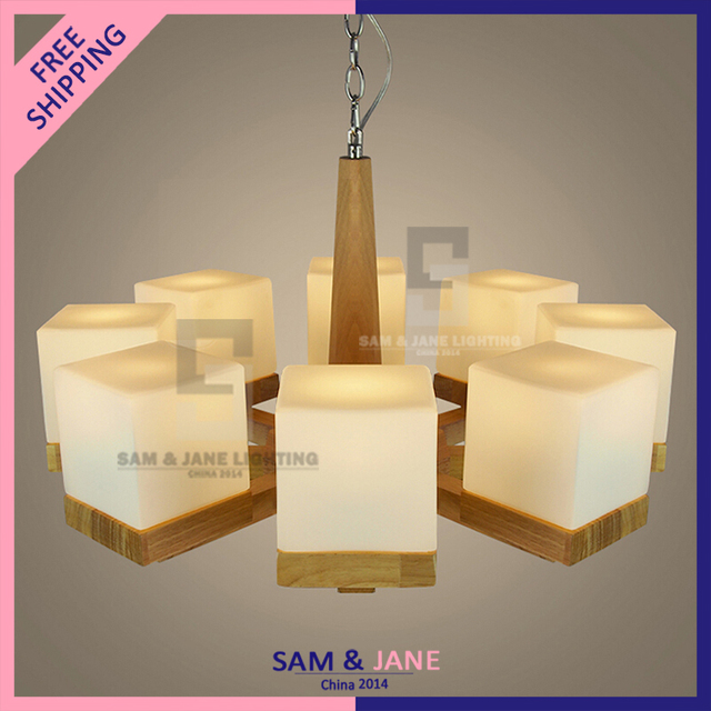 New E14 Modern Wood Chandelier Country Light Fixture Parlor Dining Room Lighting Gl Bedroom Ceiling Hotel Hall Lamp Ch P64l