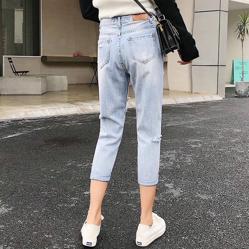 Blue Loose Vintage High Waist Ripped Jeans For Women 4