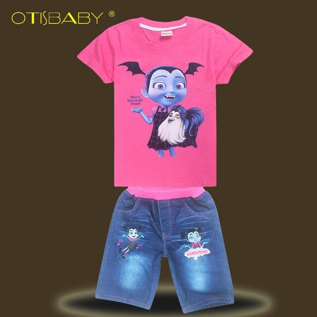 Verano vampirina algodón y denim Pantalones cortos suave Vaqueros y dibujos  animados Tops para Niñas niños 6dc5d0eec39