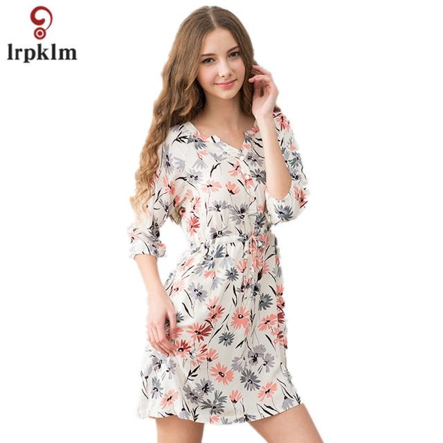 1c58b1cc5bd3 2017 Women Home wear For Sleeping Womens Nightdress Cotton Vintage Floral  Print Sleepdress Ladies Lounge Green SY316