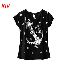 2017 Summer women Tops Tee ladies short t shirt women Boat anchor t-shirt female t-shirt woman clothes