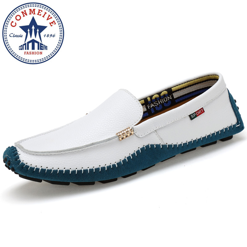 все цены на  Plus Size 36-47 High Quality Genuine Leather Men Shoes Breathable Comfy Flats Men Casual Driving Loafers Moccasins Soft Shoes  онлайн
