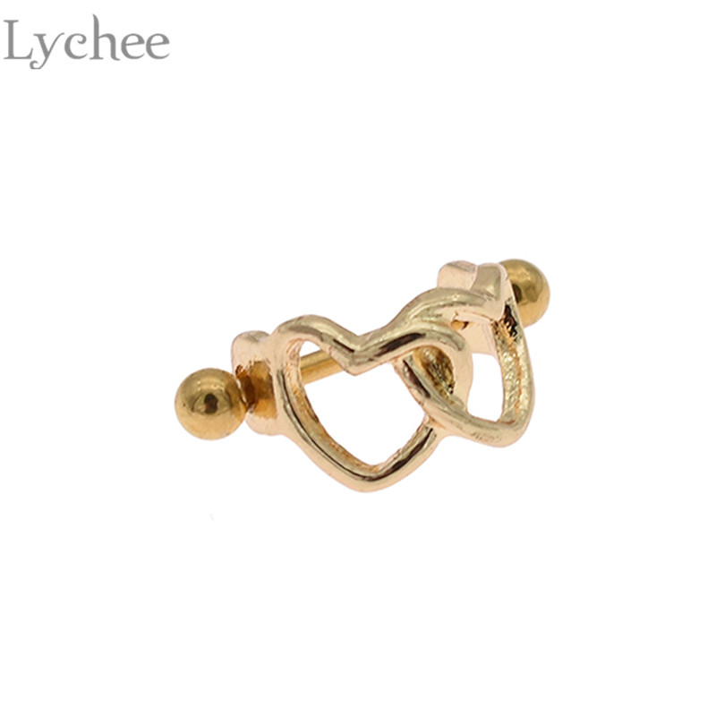 Lychee Trendy Stainless Steel Heart Ear Piercing Unisex Stud Earrings Fashion Women Men Earrings Jewelry Accessories