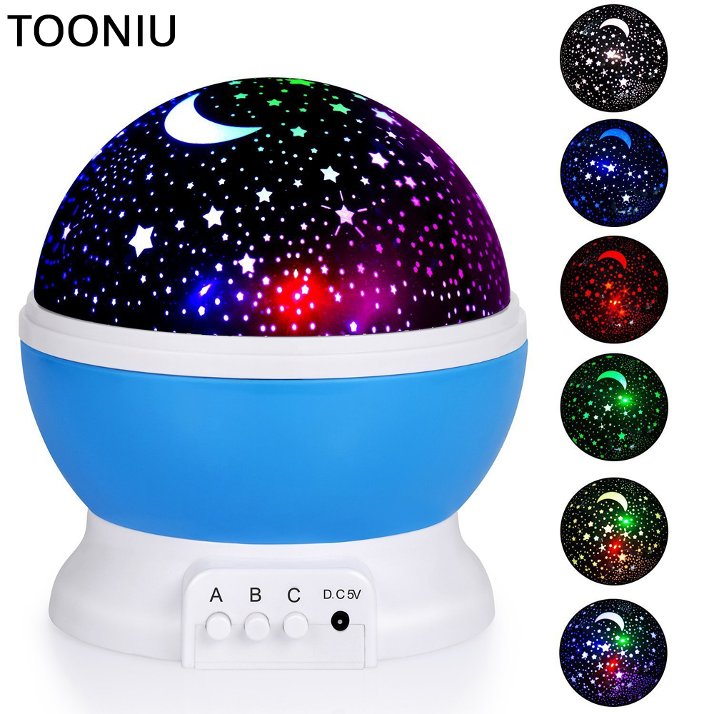 Tooniu Rotating Night Light Projector Spin Starry Sky Star Master Children Kids Baby Sleep Romantic Led USB Lamp Projection led colorful star master sky moon night light cosmos projector lamp for baby sleep children gift led projection table lamp