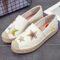 2017 Espadrilles Women Loafer Embroid Platform Round Toe Comfortable Hemp Bottom Frisherman Shoes Star Zapato Mujer Bling Slip