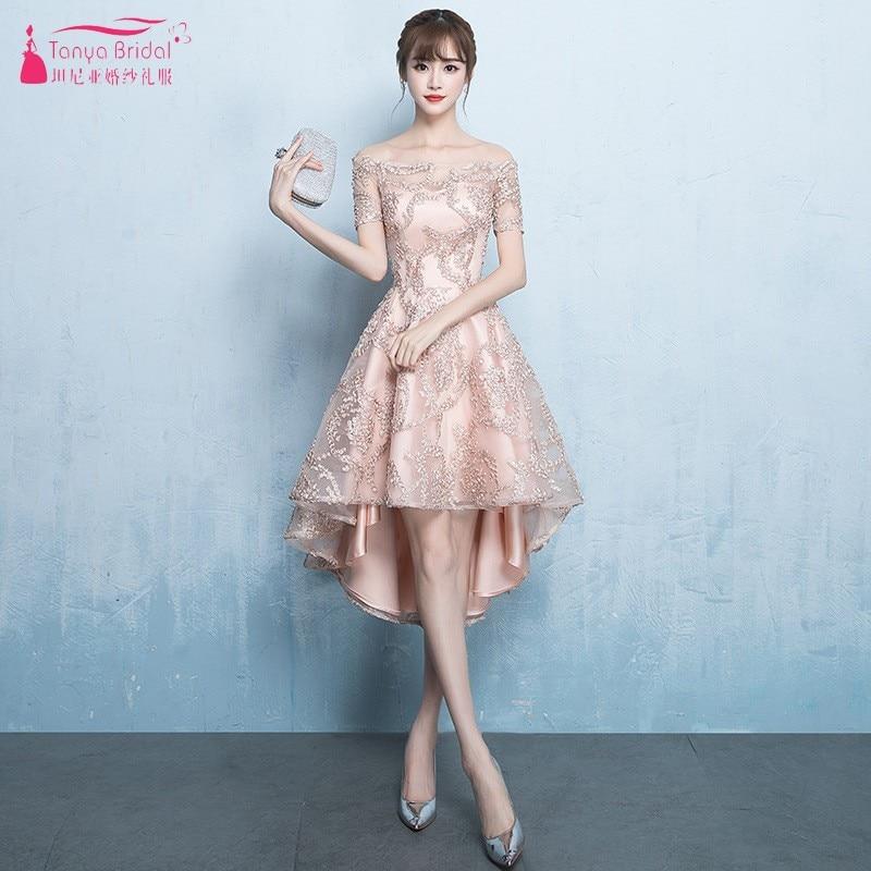 1c6abc877ad Половина рукава короткое спереди и длинное сзади Выпускные Платья цвет  шампанского (Подол короче спереди и