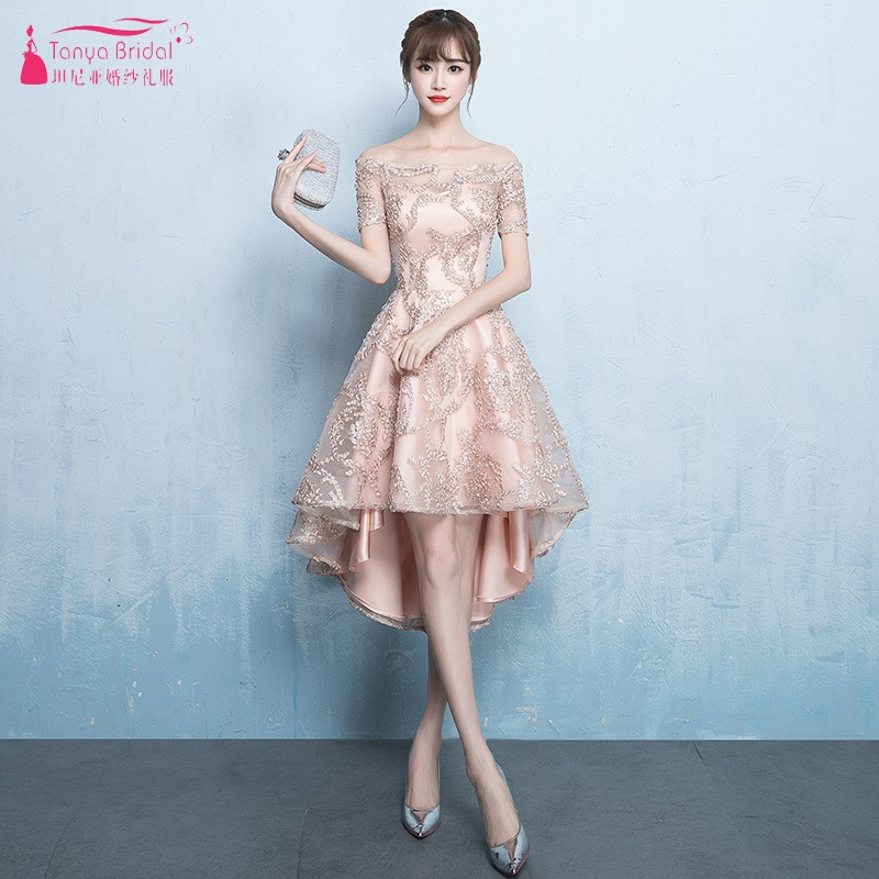 Demi manches courtes avant longues dos robes de bal Champagne Hi-Lo soirée robe de bal en dentelle robe formelle JQ250