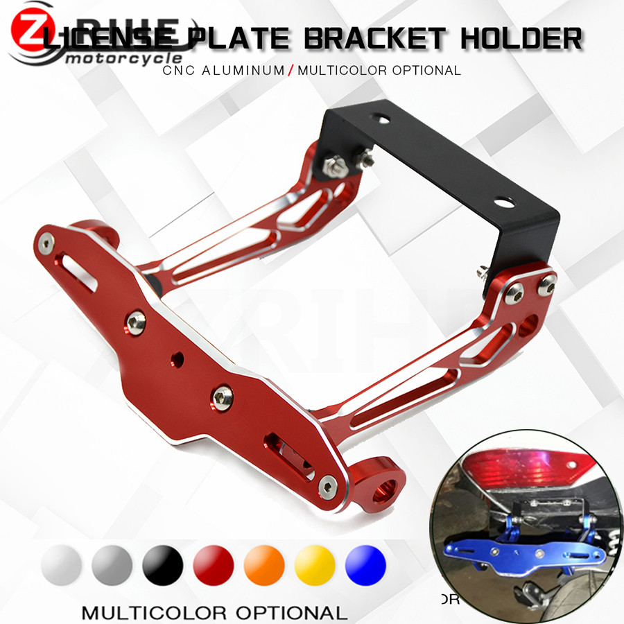 Motorcycle accessories Universal Fender Eliminator License Plate Holder For YAMAHA YZF-R1 R1 R3 R6 FZ1 FZ6 FZ8 XJ6 with LED Light-Red
