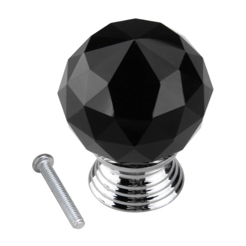 Black Crystal Glass Cabinet Drawer Door Knobs Handles 30mm