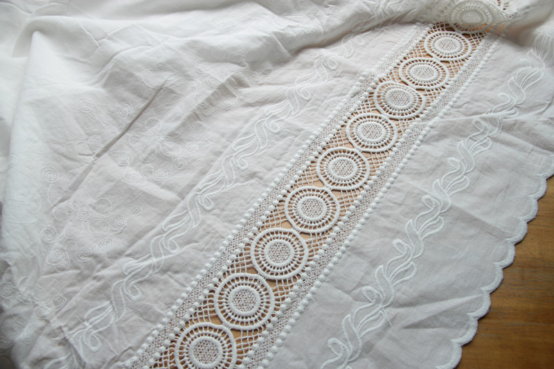 Lace trim Double row embroidery lace fabric High quality curtain decoration lace trim 140cm Wide