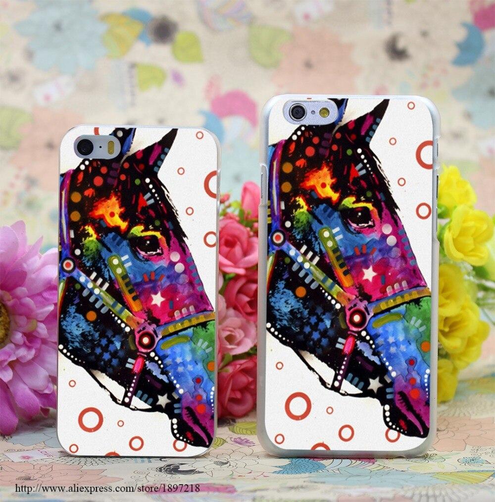 1526W Horse Transparent Hard Case Cover for iphone 7 7 Plus 6 6s plus 4 4s 5 5s SE 5c