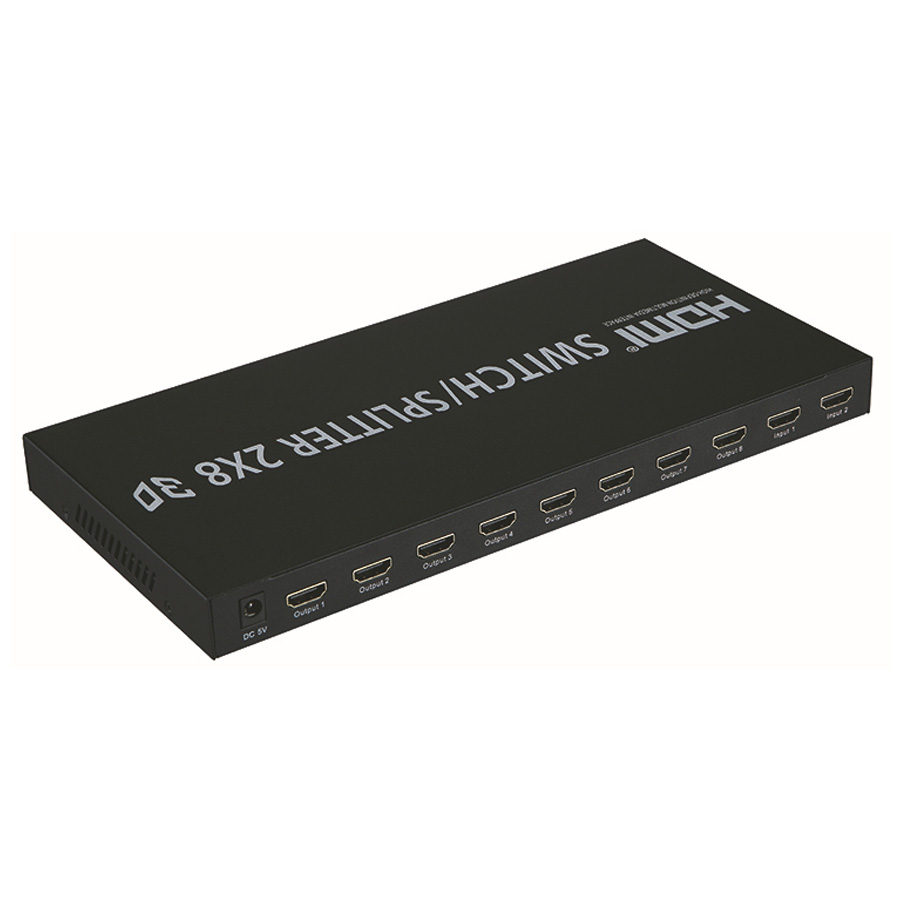 4K HDMI Switcher/Splitter 2x8 HDMI V 1.4 3D HDMI Splitter 2 in 8 out support 3840X2160/30HZ For HDTV Projects DVD цена и фото
