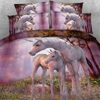 Royal Linen Source Brand 3 PCS PER SET Mother and Baby Unicorn Children Hd digital 3D bedding set and bed sheet set