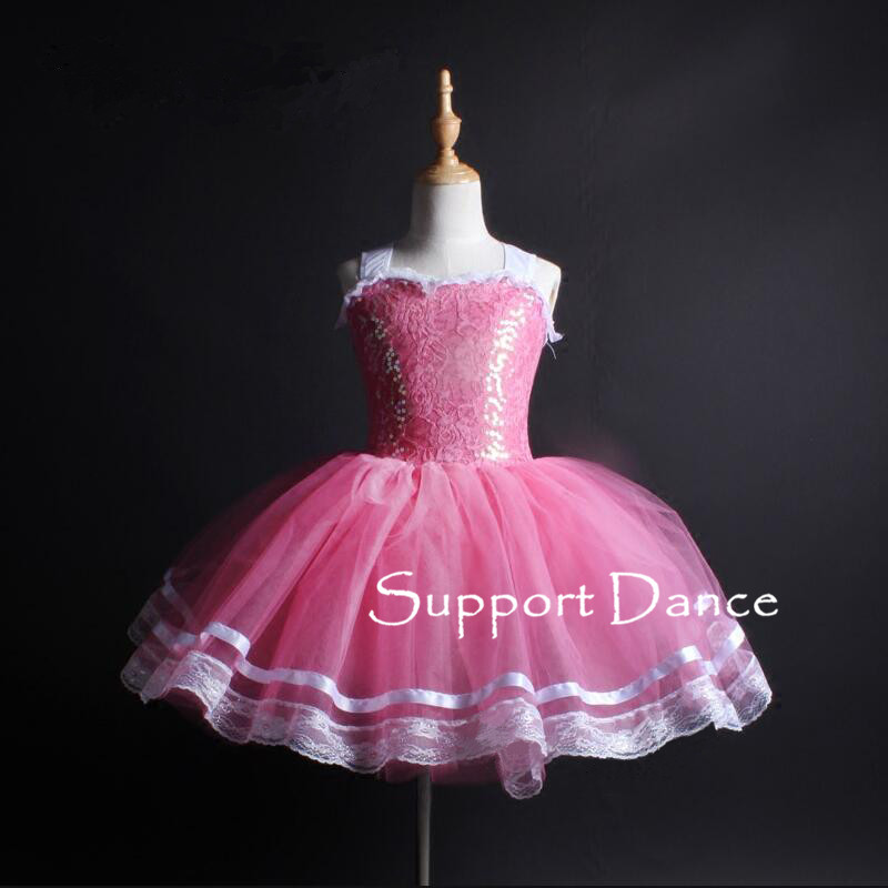Girls Ruffle Neckline Sequin Ballet Tutu Dress Women Sexy Backless Performance Costume Support Dance C251