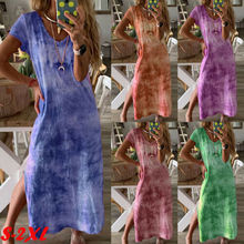 Fashion New Beach Style Womens Tie Dyeing Print Ethnic Boho Cotton Linen V Neck Short Sleeve Side Split Maxi Dress Plus Size XXL