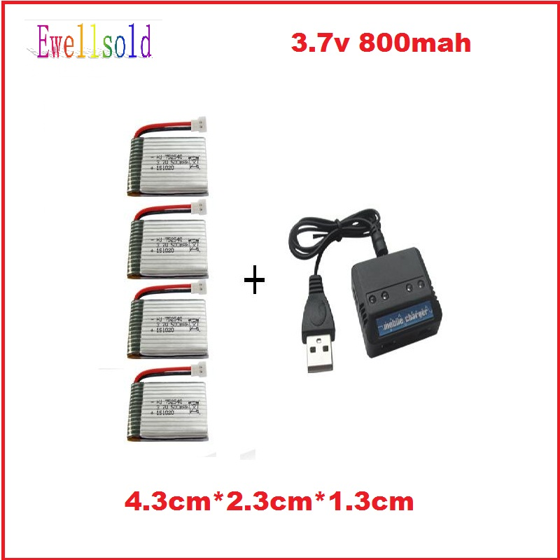 Ewellsold X5C X5SC X5SW skytech M68 RC quadcopter 3.7V 800mah Li-polymer battery*4pcs+4 in 1 charger box 5pcs/lot free shipping