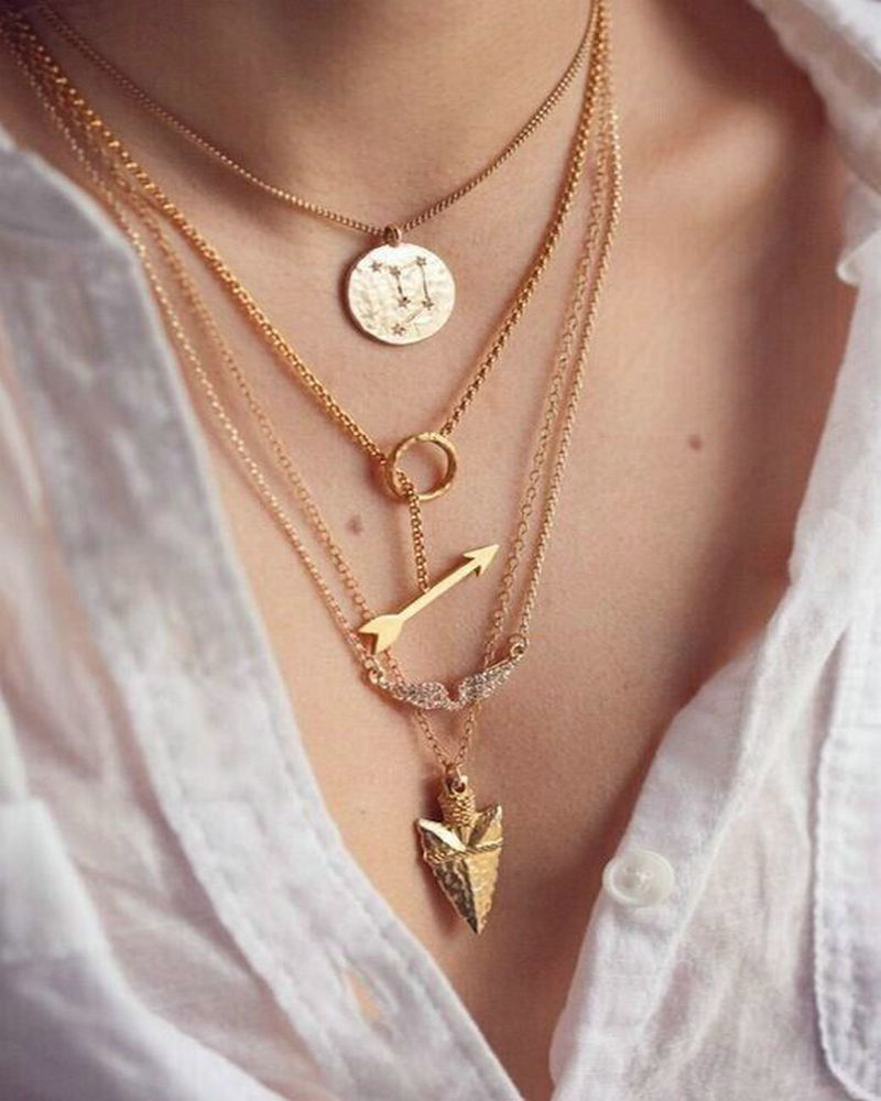 New women cheap multi layer necklace gold maxi charms personalized lariat necklaces & pendants long nameplate necklaces